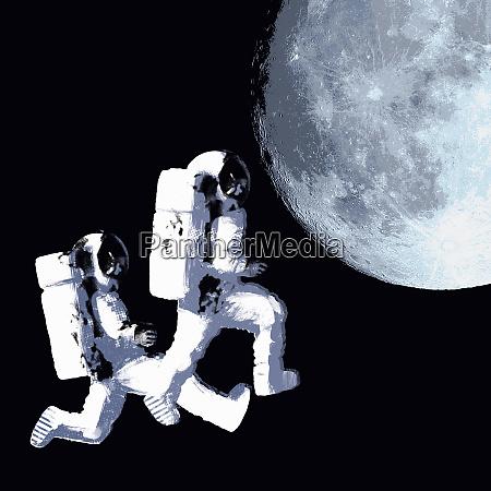 astronauten weltraum die zum mond laufen