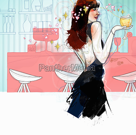 glamorous woman drinking cocktail in bar