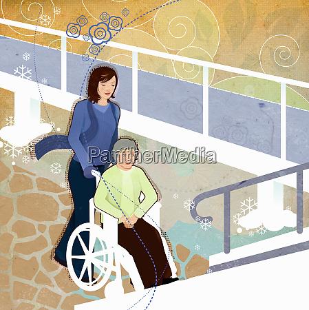 woman pushing elderly woman in wheelchair