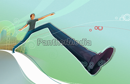man taking large stride on path