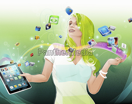 woman downloading apps on digital tablet