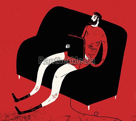 man in underwear slumped on sofa