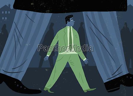 small businessman walking below large businessman