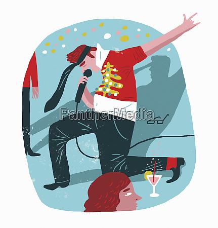 drunk man singing karaoke at christmas