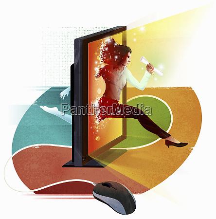 geschaeftsfrau springt durch computerbildschirm mit diplom
