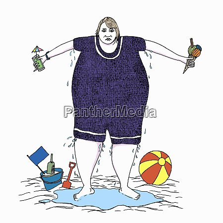 overweight woman sweating in wet bathing