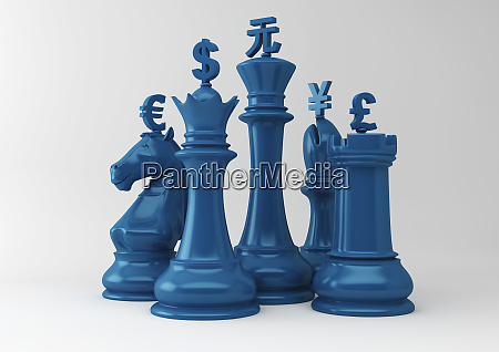 currency symbols on chess pieces