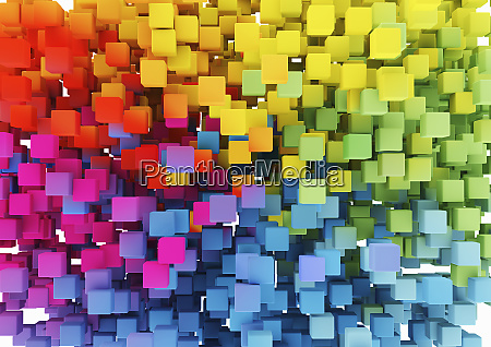 close up of multicolored cubes