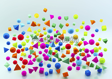 abstract floating multicolored geometric shapes on