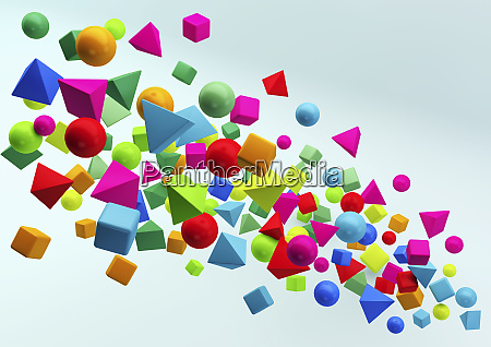 abstract floating cluster of multicolored geometric