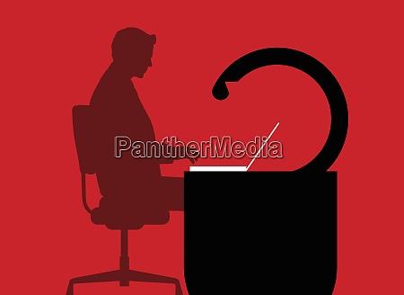 businessman working at padlock desk