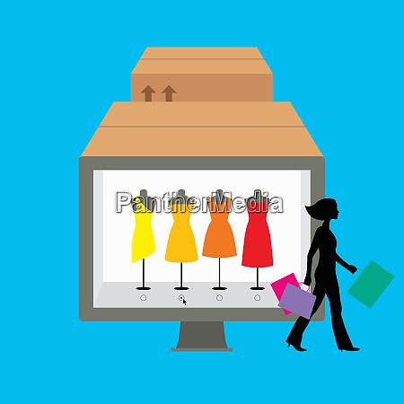 frau mit einkaufstaschen die an display