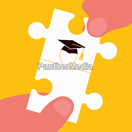hands joining graduate jigsaw puzzle pieces