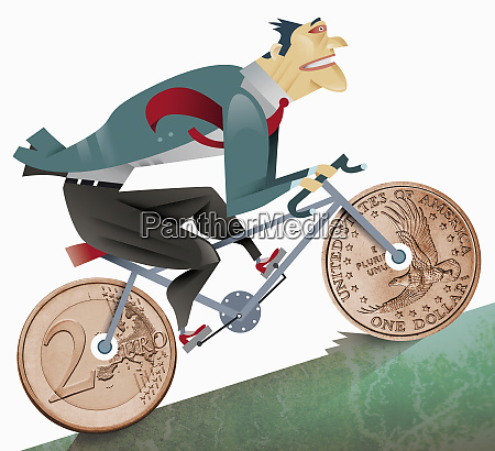 businessman riding bicycle with coin shaped