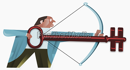businessman shooting bow with key for