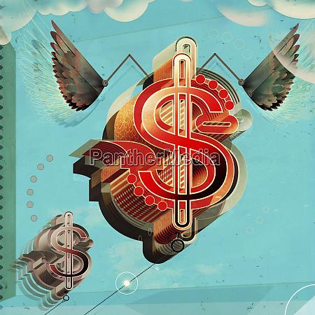 aufsteigendes dollarzeichen mit fluegeln