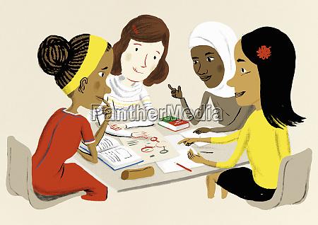maedchen lernen zusammen