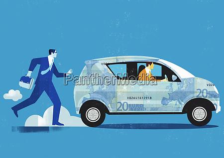 businessman chasing car covered in twenty
