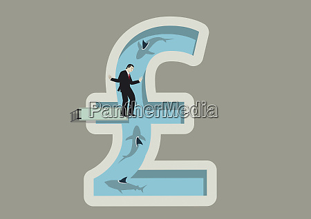 businessman balancing on diving board above