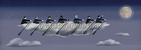 business people rowing cloud boat in