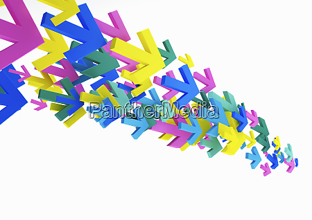 cluster of multicolored arrows on white