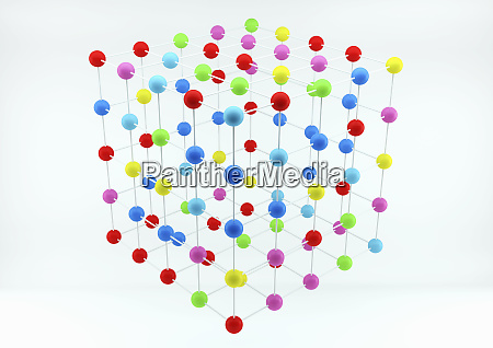 grid arrangement of multicolored balls in