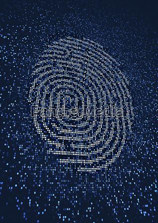 fingerabdruck leuchtet auf riesiger digitaler display