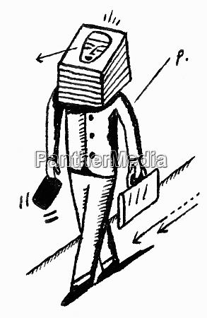 geschaeftsmann mit stapel papier fuer kopf