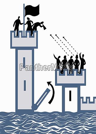 raised drawbridge separating people in high