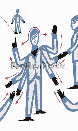 mann mit mehreren haenden handschuetteln