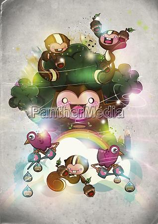 happy characters tree and rainbow