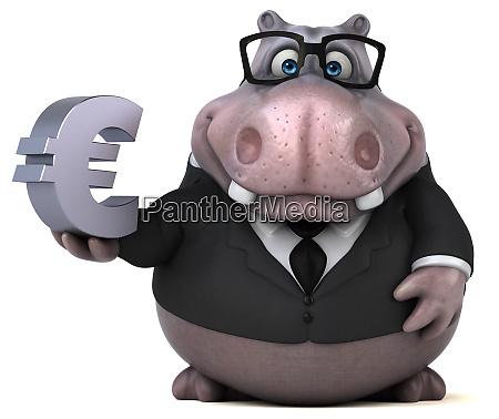 fun hippo 3d illustration