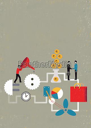 businessman oiling wheels of commerce finance