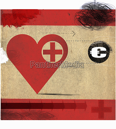 heart with red cross following euro