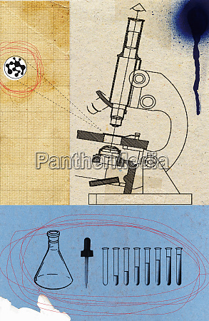microscope with beakers and test tubes