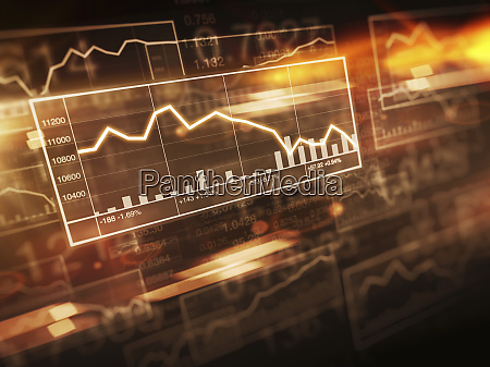 decreasing line graph on stock market