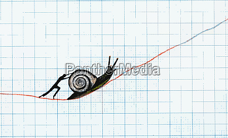 man pushing snail up slowly ascending