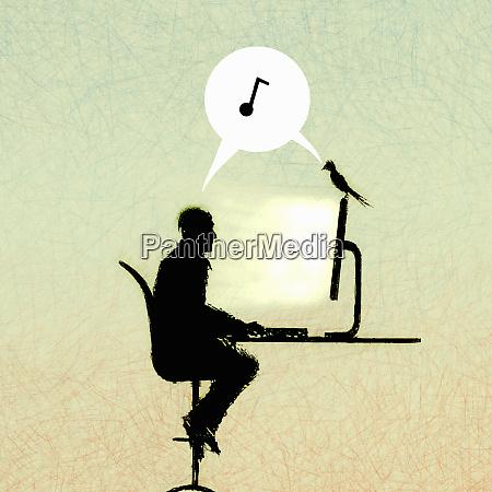 music note in speech bubble between