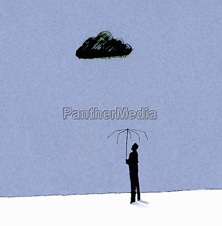 dark cloud over man standing under