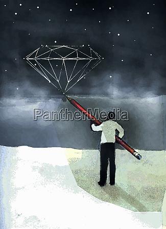 man drawing outline of diamond among