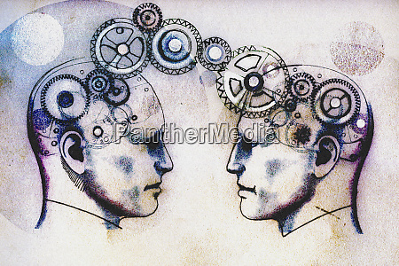 two mens heads face to face