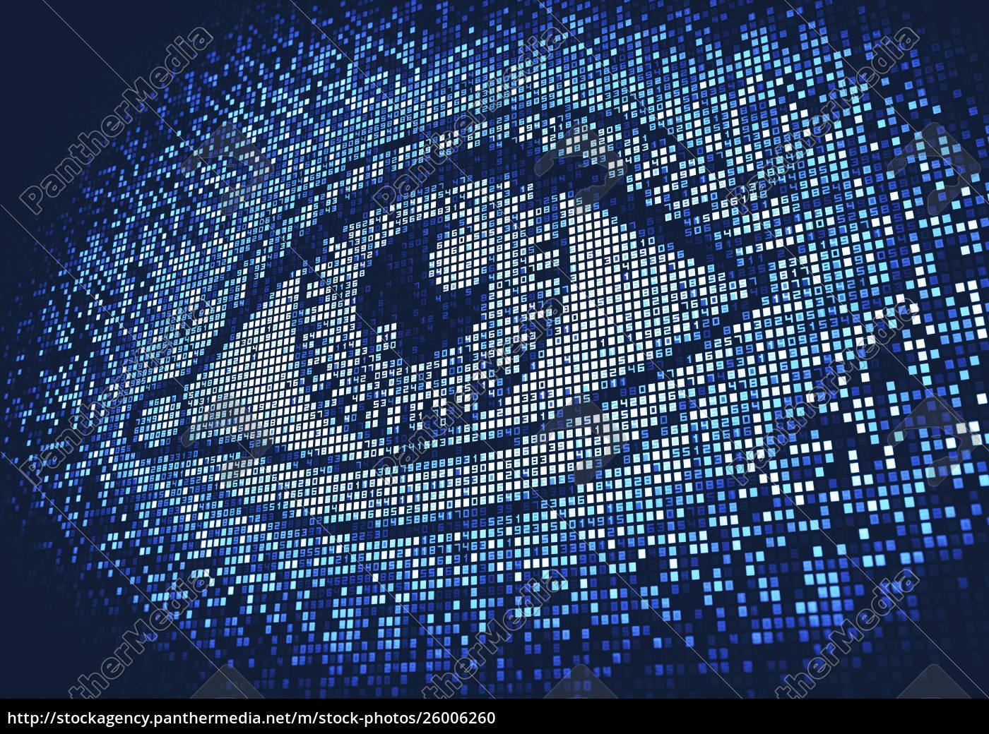 auge, leuchtet, auf, riesigen, digitalen, bildschirm - 26006260