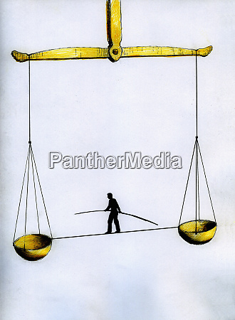 man with pole walking on tightrope