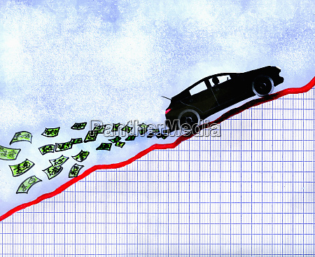 car on ascending line graph with