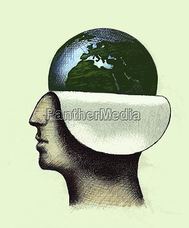 globe revealed inside of profile of