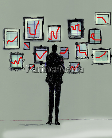 businessman looking at gallery of different