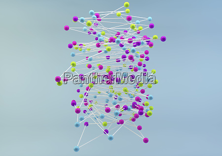 tangled multicolored balls on blue background