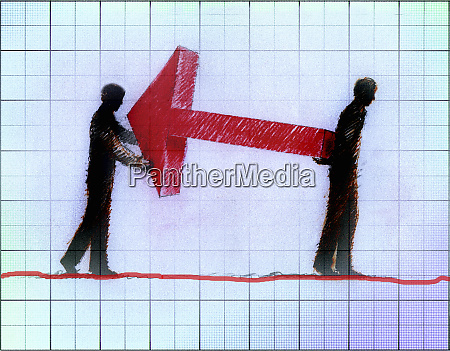 businessmen working together carrying large red