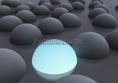abstract gray hemispheres and glowing blue