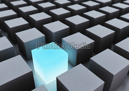 abstract gray cubes and glowing blue